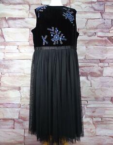 MONSOON black beaded velvet dress BNWT size 20 party occasion