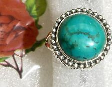 Tibetan Turquoise 925 Sterling Silver Ring Size 7.75