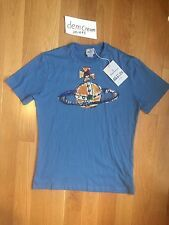VIVIENNE WESTWOOD LONDON MENS LOGO BLUE T-SHIRT SLIM FIT SZ L NWT