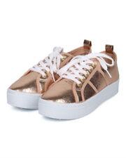 New Women Qupid Maniac-17 Distressed Metallic Lace Up Flatform Creeper Sneaker
