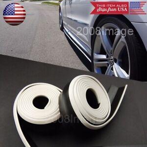 2 x 8FT Black w/ White Trim EZ Fit Bottom Line Side Skirt Lip For Honda Acura