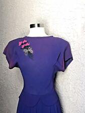 30's/40's Vintage Beaded Rayon Crepe Dress