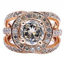 4.25 Quilate Diamante Redondo Natural Halo Anillo De Compromiso 14k Oro