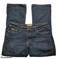 Lee Womens Midrise Bootcut Jeans Size 14P Dark Wash Denim Stretch Pockets