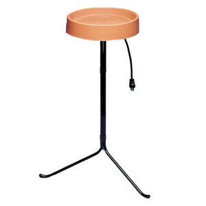 API Weather Resistant Heated Bird Bath with Round Basin and Metal Stand, Black