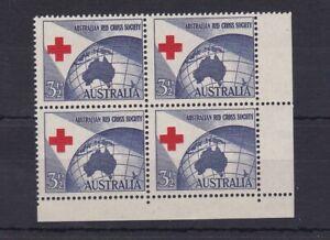 APD76) Australia 1954 Red Cross Misplaced bottom right corner block of 4. Fr