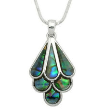 Silver Tone Beautiful Abalone Tear Drop Teardrop Pendant Necklace Fast Shipping