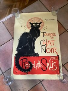 Vintage A1 Laminated CHAT NOIR FRENCH CAT RESTAURANT MAXI POSTER WALL HANGING
