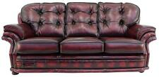 Chesterfield Knightsbridge 3 Seater Antique Oxblood Leather Sofa Settee