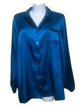 JACLYN SMITH~SATIN NIGHT SHIRT~TEAL~LONG SLEEVE~LACE~BOW~BUTTON FRONT~4X~EUC