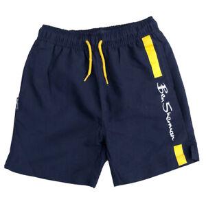 Ben Sherman Swimming Shorts Navy Blazer / Yellow Logo shorts Ages 3Y up to 1