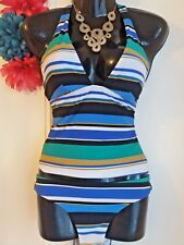 NEXT SZ 10 TOP & 10 BOTTOM MULTI STRIPE MATCHING TANKINI SET BNWT