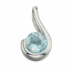 925 Sterling Silver Blue Topaz Gemstone Circle Pendant Necklace (Design 3)