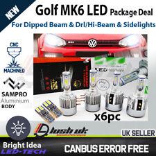 VW Golf MK6 H7 LED H15 Bombillas De Faros Paquete DRL High Beam Flash Luces Laterales