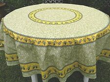"""LE CLUNY, MONACO LIGHT GREEN FRENCH PROVENCE COATED COTTON TABLECLOTH, 70"""" ROUND"""