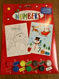 Christmas paint by numbers 2 pictures 7 paints 1 paint brush age 3+