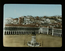 ORIGINAL HAND COLORED PHOTO ON GLASS OF PLACE OF COMMERCE - PORTUGAL, LISBON