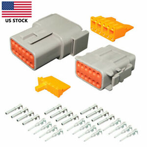 1Set Electrical Car Auto 12 Pin DTM Waterproof Wire Connector Plug Kit 20-24 AWG