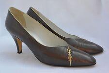BALLY Bronze Brown ITALIAN Leather Classic Pumps Heels GOLD Trim FRIDA 8.5 M