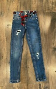 *GUC* JUSTICE Girls Jeggings with Red/Black Plaid Ribbon Belt Distressed, 7 Slim
