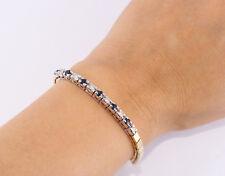 "Diamond Sapphire Semi Tennis Bracelet 14k Yellow White Gold 1.20 TCW  7"" Length"