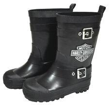 Harley-Davidson Kids Bar & Shield Black Rubber Rain Boots with Buckles 3285044