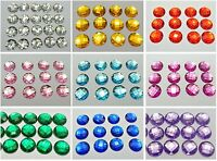 100 Acrylic Flatback Rhinestone Faceted Round Gems 14mm No Hole Pick Your Color