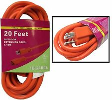 20 FT Orange Indoor Outdoor Extension Electric Power Cord Cable 16 Gauge BN-1120