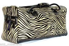 BLACK Duffle Zebra Print pelliccia Weekend Borsone viaggio palestra vera Borsa in vera pelle