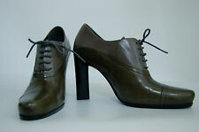 NEW &VeryRARE PRADA OLIVE ColorBlock lace up Unique SNUB nose Booties+2 DUST BAG