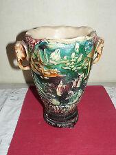 Grand vase en résine vintage scène chinoise   (419087)