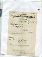 Rockford Illinois 1880 Peoples Bank Document