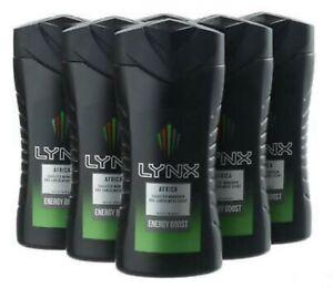 Lynx Africa Shower Gel Body Wash Energy Boost 250ml  X6