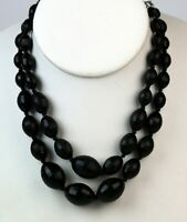 Vintage Double Strand Black Lucite Plastic Bead Necklace W Germany