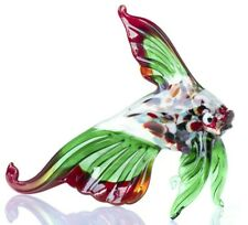 "Green Red Fish Figurine Blown Glass ""Murano"" Art Animal Ornament"