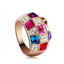 1pc Fashion Translucent Colorful Crystals Bridal Wedding Band Finger Rings Sz 7