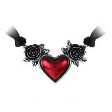 Alchemy Gothic Pewter Red Blood Heart Black Rose Choker Necklace P746