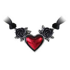 Alchemy Gothic en étain rouge sang coeur P746 Collier Tour de cou noir Rose