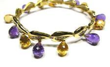 Estate 30.5CT Diamond Amethyst Citrine 18K Yellow Gold Drop Charm Bracelet 31g