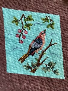 """Vintage Finished Needlepoint Canvas Bird w/ Barries Teal Blue Peach 12x14"""""""