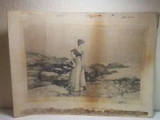 ART NOUVEAU PICTURE SIGNED PERCY MORAN LITHOGRAPH 1891