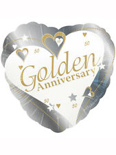 """50th Anniversary Golden Wedding Party Decoration 18"""" Heart Shaped Foil Balloon"""