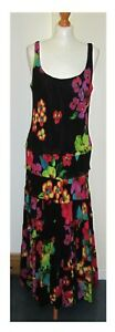 JONES NEW YORK BLACK BRIGHT FLORAL TIERED MAXI DRESS, THIN STRAPS SIZE 16 UK