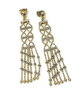 14k Gold Chandelier Ice Lace Dangle Earrings