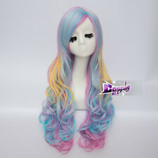 70cm Long Curly Hair Rainbow Unicorn Gothic Lolita Cosplay Drag Race Wig + Cap
