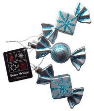 Weihnachtsbaum Kugeln Silber & Blau Süßigkeiten Verzierungen,3er Set