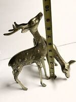 Solid Brass Deer Vintage Figurine Mid Century Modern Large Spotted Buck  & Doe