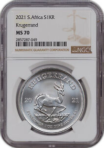 2021 SOUTH AFRICA SILVER S1KR KRUGERRAND NGC MS70 FINEST KNOWN GRADE.