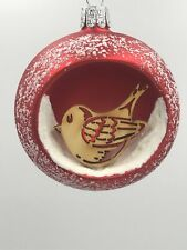 Christmas Glass Ornament Ball with Wood Bird Decoration/Variety of Color