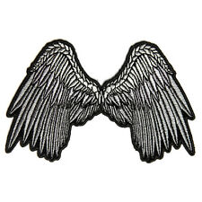 Embroidered Angel Wings Silver Grey Iron on Sew on Biker Patch Badge